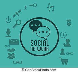 social network media icons badge green background