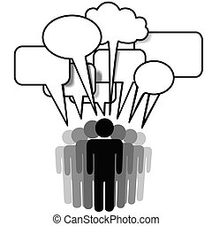Social Network Media people group speak speech bubbles -...