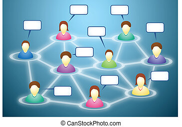 Social network members with text clouds - Illustration of...