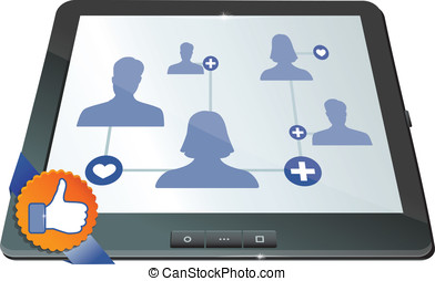 social network on the screen of mobile computer
