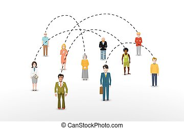 Social network people connection concept illustration