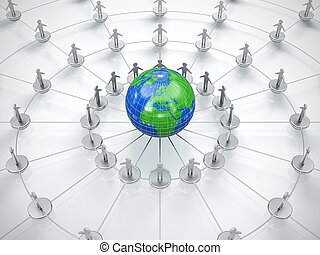 Social network - People in circle surrounding the Earth....