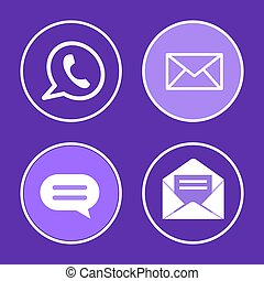 Social Network Phone Set Icons Vector Illustration