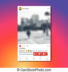 Social network post in colorful background - Social network ...