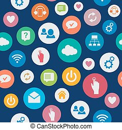 Social network seamless background pattern with cloud, computing, mail, people chat, heart isolated on blue background.