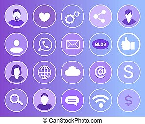 Social Network Set of Icons Vector Illustration