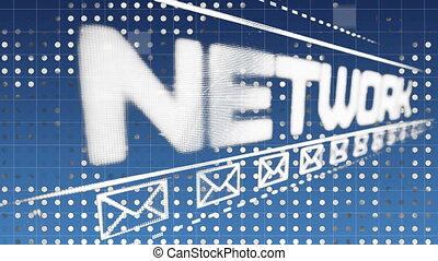 Social network signage - Digital animation of a bright sign ...