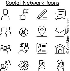 Social network , Social media icon set in thin line style