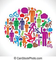 Social Network Status Bubble - Stick figure collage makes a...