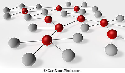 Social Network illustration with influencers marked in red