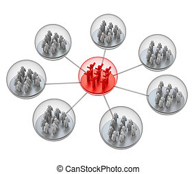 Social network. White isolated 3d