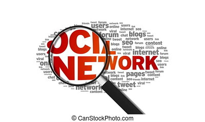 Social Network - Magnified Social Network Word Cloud...