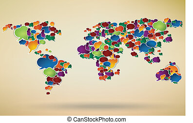 social network symbol with a world map created from...