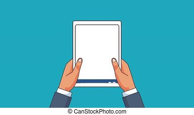 Social network technology HD animation - Hands with tablet...