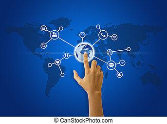 Social network touchscreen - A person touching a social...