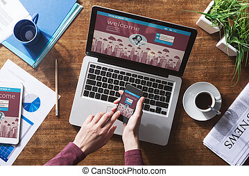 Social network user login, website mock up on computer ...