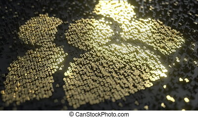 Social network users icon made of gold numbers. Digital ...