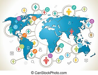 Social Network. Various shapes sparkling Pictograms. Flat design concept with World Map