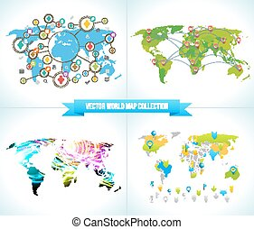 Social Network. Various shapes sparkling Pictograms set. Collection Flat Design concept with World Maps. Team  Chatting by  Media. Ribbon  Text