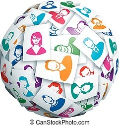 Social network - Sphere made of portraits of young people....