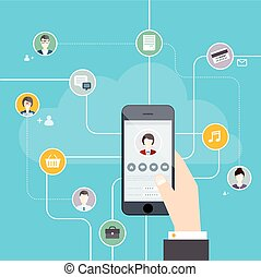 Social Network Vector Concept. Hand touching the tablet screen with web icons. Flat design style modern vector illustration concept.