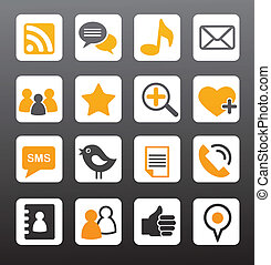 social network vector icons - social media orange icons set,...