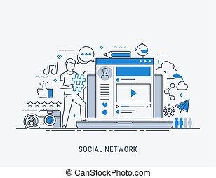 Computer, global networks and social media concept. Flat modern line-art vector illustration.