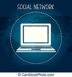 social network with planet and laptop