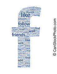 Illustration of the letter F, which is composed of words on social media themes. Isolated on white.