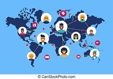 Social network world map people team connection