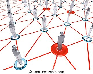 Social networking - 3d illustration of group of people who...