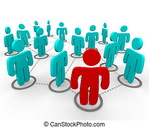 A red figure stands at the forefront of a group of blue figures, all interconnected in a social network.