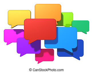 Creative social networking media, web chat, online messaging and internet communication concept: group of glossy colorful speech bubbles or balloons isolated on white background