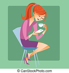 Young woman sitting with a Cup of coffee or tea and read the message on your phone