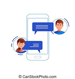 Social networking concept. Chatting - Social networking...