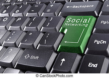 social networking concept on keyboard