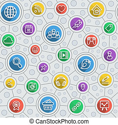 Social Networking Flat Outline Mul - Seamless pattern of...