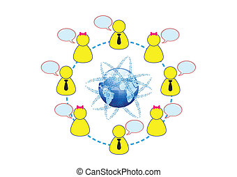 social, networking, global, amigos, conceito, ilustração,...