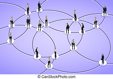Social networking graph with businessman in the nodes
