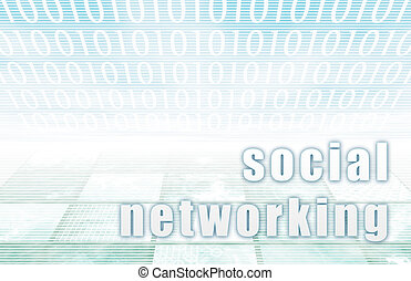 Social Networking on a Clear Blue Tech Background