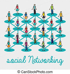 social networking over lineal background vector illustration...