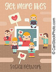 Social Networking Poster - Funny People Using Cellphone, ...