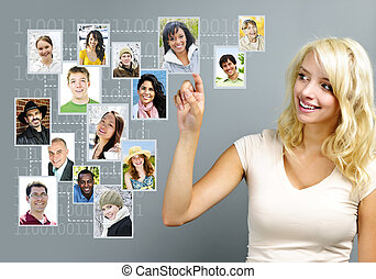 Young woman with social network of friends