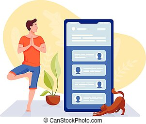 Social networks, chatting, dating app. Young man are doing yoga with big smartphone and talking to phone. Flat vector concept illustration isolated on white.