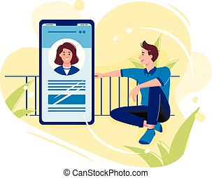 Social networks, chatting, dating app. Young man are sitting near big smartphone and talking to woman in the phone. Flat vector concept illustration isolated on white.