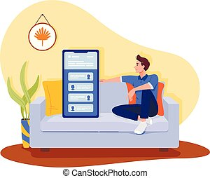 Social networks, chatting, dating app. Young man are sitting with big smartphone on the sofa and talking to phone. Flat vector concept illustration isolated on white.