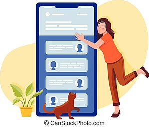 Social networks, chatting, dating app. Young woman hugs big smartphone and talking to phone. Flat vector concept illustration isolated on white.