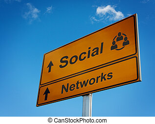 Social networks road sign.