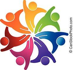 social, olá, 5, grupo, logotipo