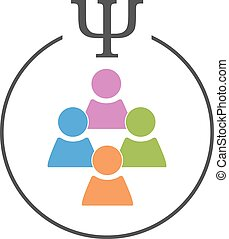 Social or crowd psychology logo. Several person signs in a circle with psi letter